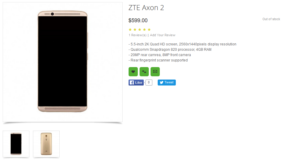 ZTE Axon 2 Listed for Sale on OppoMart for $599