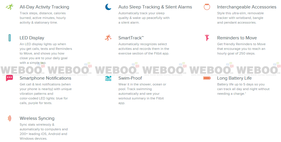 Fitbit Fitbit Flex 2 Fitness Tracker Features Weboo-co