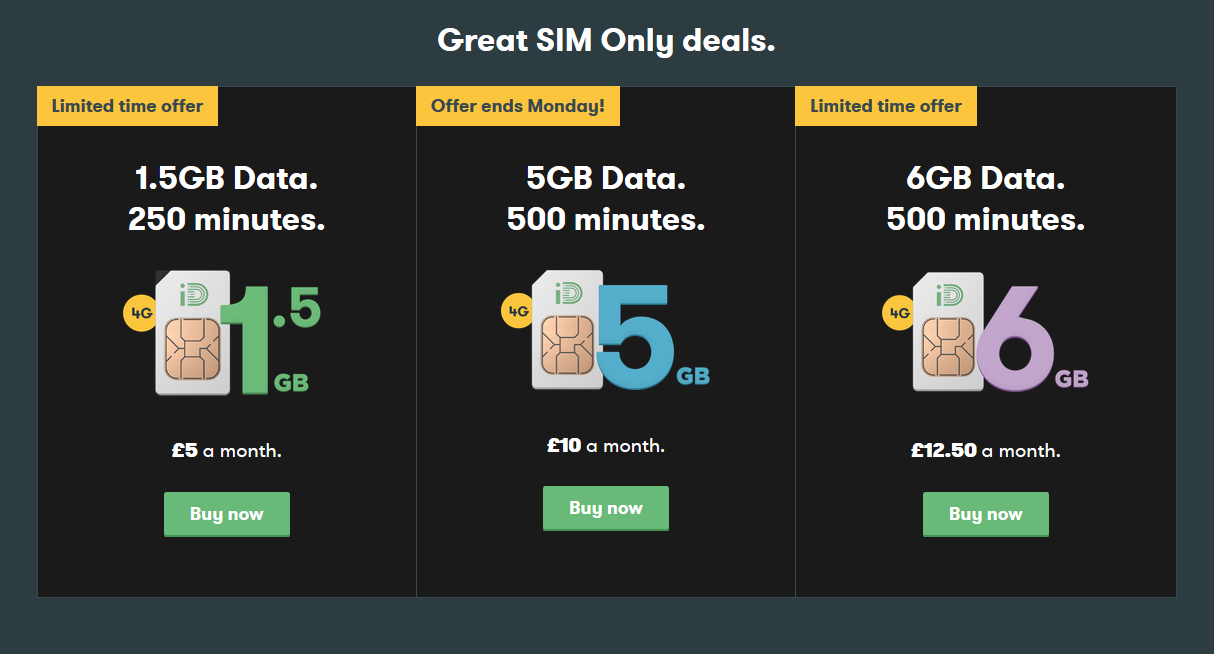 Stay Connected For Less With These Three 30 Day Sim Only Great Deals From Id Mobile Weboo
