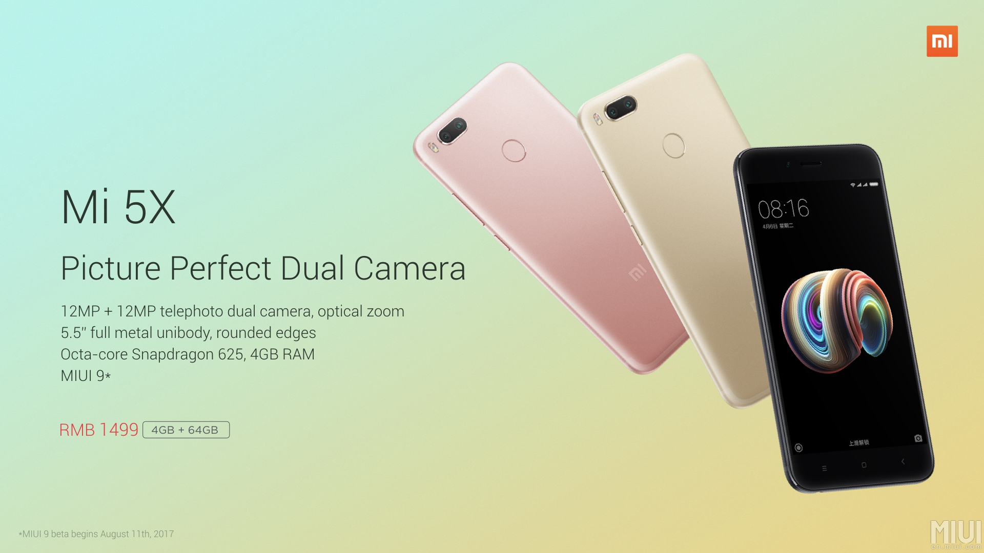 Xiaomi Mi 5X with Dual Camera, Snapdragon 625 and MIUI 9