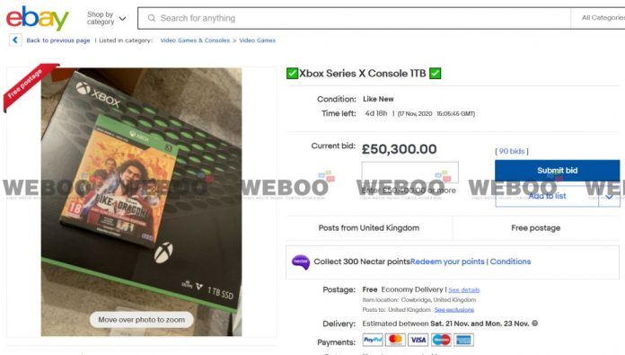 Used Xbox Series X Console Reaches £50,000 on eBay
